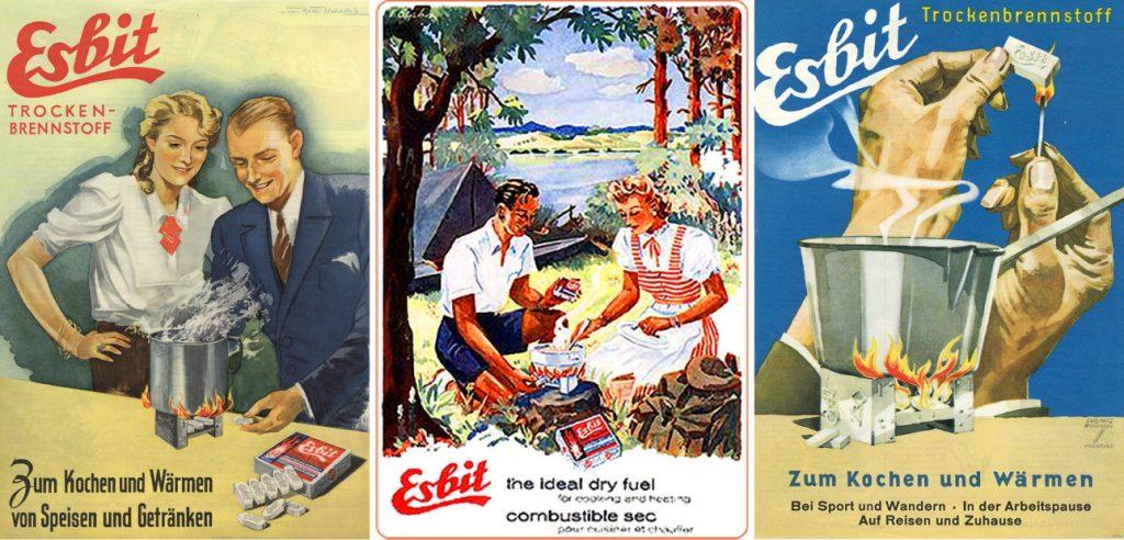 Esbit reklāmas plakāti no sešdesmitajiem un septiņdesmitajiem gadiem