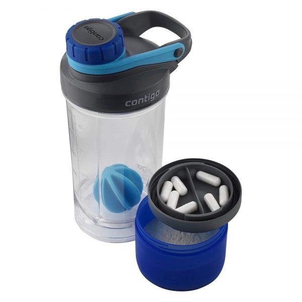Contigo Shake&Go Fit šeikeris ar īpašu nodalījumu proteīna pulverim un vitamīniem
